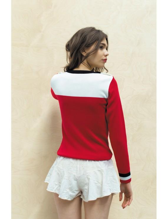 "Pull ""Lilia"" marine - blanc - rouge"