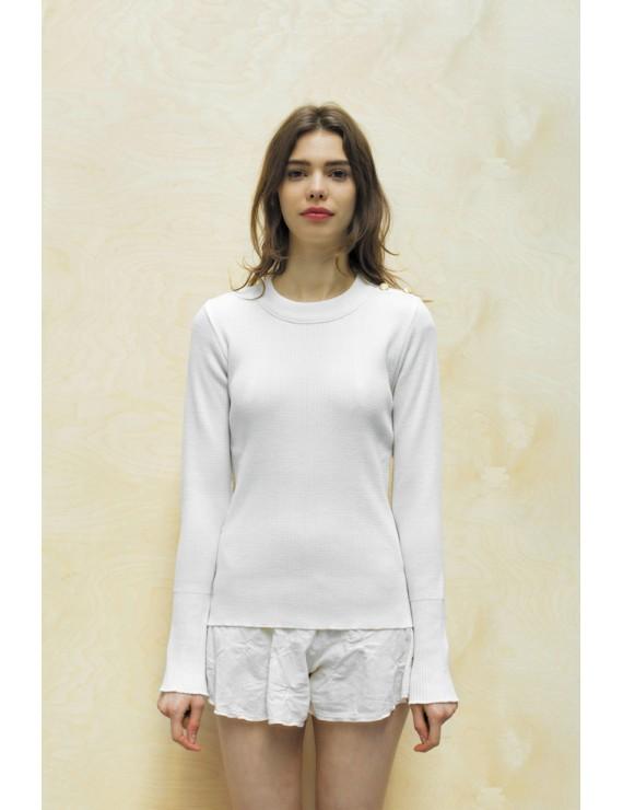 "Pull ""Kelen"" laine mérinos Blanc"